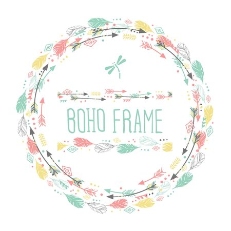 Feathers and arrows. Vintage wreath border in boho style. Watercolor vector