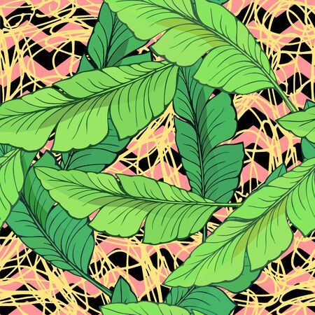 Vector seamless background with hand-drawn banana leaves on a background of black and pink broken zigzag lines and white doodles