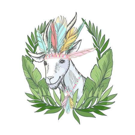 hand drawn sketch on the theme of hunting - white goat heads in oak leaves and a stack and whip