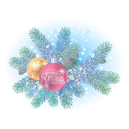 Christmas tree branch and decorations. Hand drawn spruce branches with balls. New year vector decorations. Holiday elements with lettering  イラスト・ベクター素材