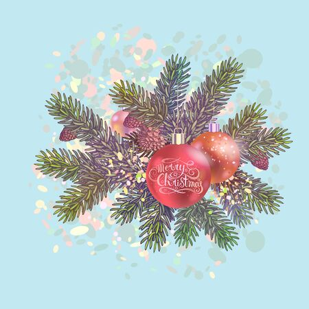 Old style spruce branches with balls. Christmas and New year vector decorations. Holiday elements