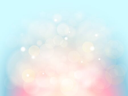 Abstract background with bokeh effect. Blurred defocused lights in light blue and pink colors. Magic lights with soft light background illustration 写真素材