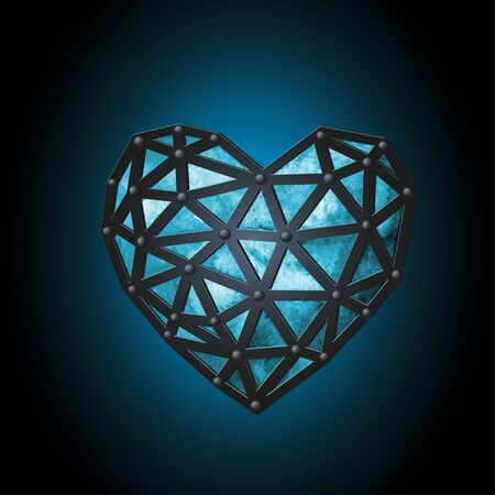 A luminous blue ice heart, tied with leather straps.. Watercolor polygonal and digital design on dark background.