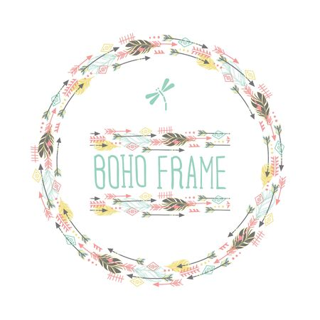 Feathers and arrows. Vintage wreath border in boho style. Watercolor vector.  イラスト・ベクター素材