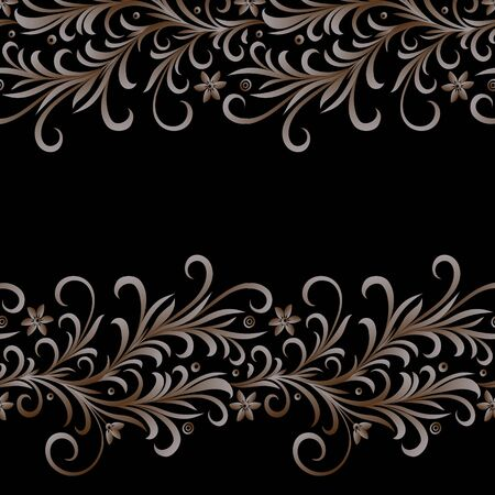 Seamless vector border or brush with vintage floral ornament in golden color on a black background. Element for greeting cards for weddings and other celebrations.  イラスト・ベクター素材