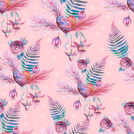 Tropical seamless pattern with exotic palm leaves.  illustration. 写真素材