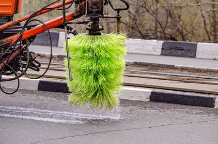 Detail of a road sweeper cleaning the streets. 写真素材