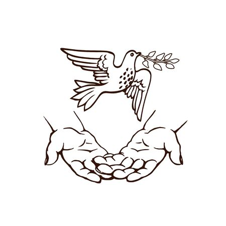 hand-drawn sketch. Hands releasing or meeting a white dove with a sprig in its beak.
