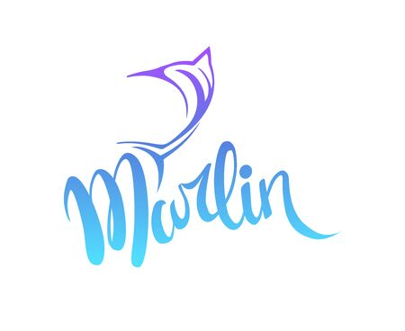 marlin fish logo vector icon line art outline. 스톡 콘텐츠 - 130594861