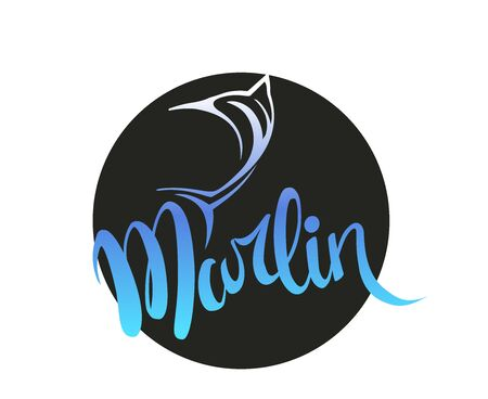 marlin fish logo vector icon line art outline.