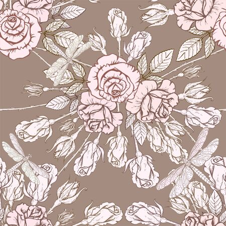 Vector seamless texture with hand drawn roses on dark background. Stok Fotoğraf