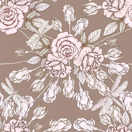 Vector seamless texture with hand drawn roses on dark background. Zdjęcie Seryjne