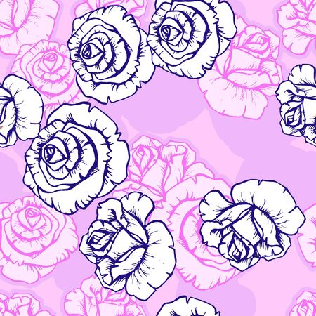 Pattern with rose blossoms on a dark purple background. Simple vintage floral background. Ornament with light-blue and pink flowers Seamless vector illustration.