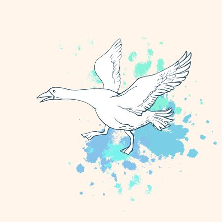 Hand drawn White goose on top of abstract blue stops on a beige background. Foto de archivo - 130957204