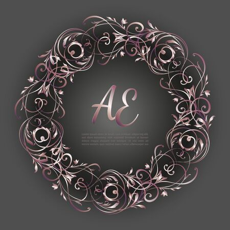 pink-gold round frame on a gray background with letters.
