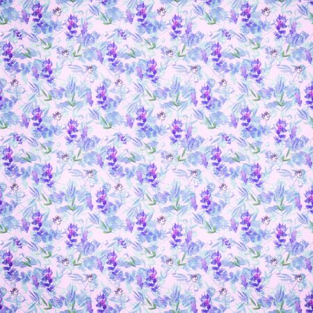 Watercolor seamless floral background with lavender flowers and leaves of field plants