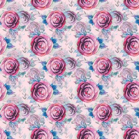 Watercolor seamless background with vintage roses 写真素材