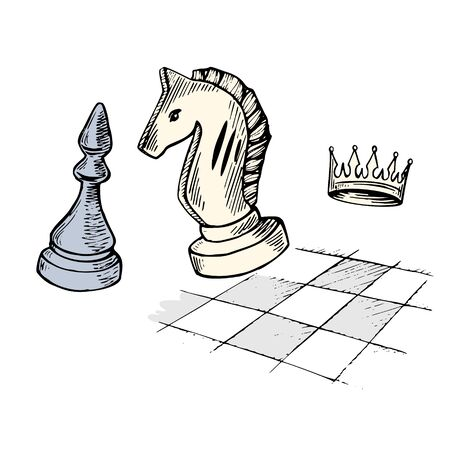 Hand drawn chess pieces-knight, Bishop and crown on the background of the chessboard. Vector illustration.