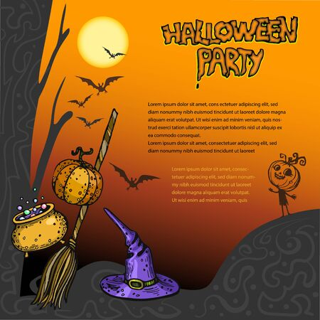 Halloween card with place for text pumpkins and brooms  イラスト・ベクター素材