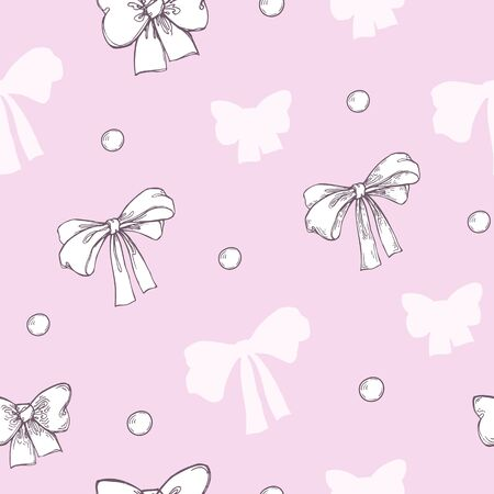 Vector image of white bows and bows with a stroke on a pink background.