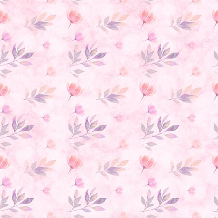 Trendy seamless pattern with different watercolor floral elements on light pink background.