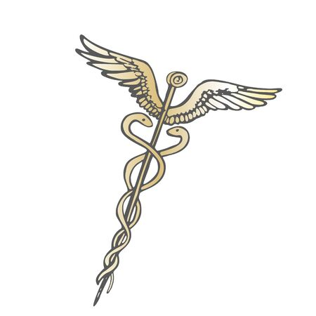 Vector image of the golden ancient caduceus rod