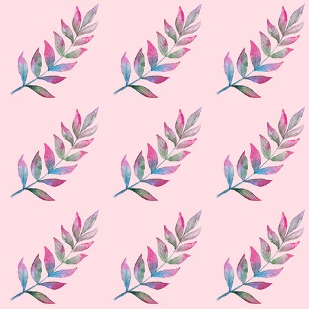 Trendy seamless pattern with watercolor leaves on dusty pink background
