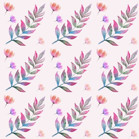 Trendy seamless pattern with watercolor floral elements on pink background