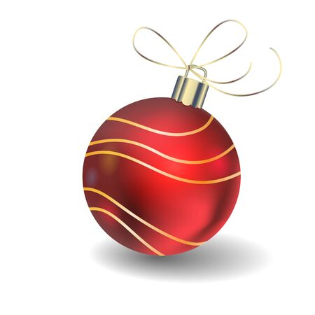 red christmas ball with patterns on a white background