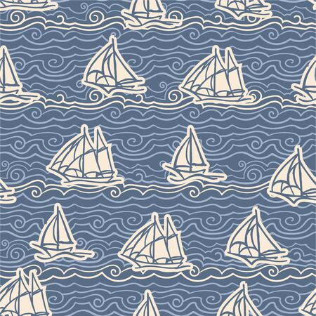 image of white and light blue waves and sailing ships on a blue background. Seamless pattern for wallpaper, textile. Stock fotó