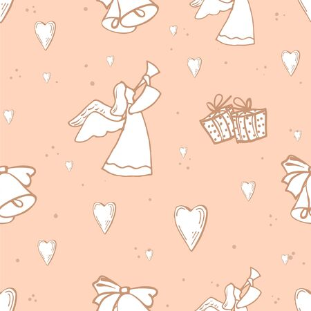 image of angels, hearts and gifts on a light pink background.