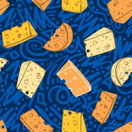 Vector image of yellow appetizing slices of cheese on a blue patterned background. Seamless background for design. Ilustracja