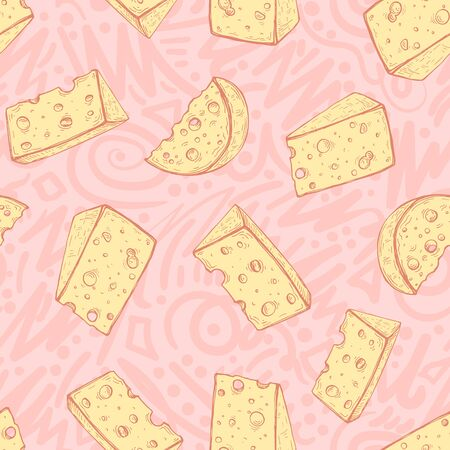 Vector image of yellow pieces of cheese on a patterned pinkoff background. Seamless background for design, wallpaper and wrapping paper.