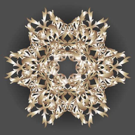 Vector image of a golden Christmas patterned snowflake on a dark background