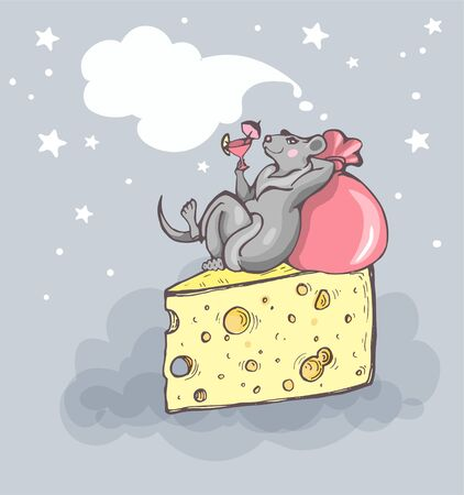 Funny cartoon hand-drawn rat with a cocktail glass in his paw lying on a piece of cheese. Bubble for text. Figure for a New Years card or T-shirt Ilustracja