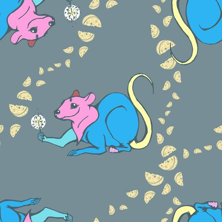Vector image of a multi-colored mouse on a dark background with patterns of cheese pieces. Seamless pattern for wallpaper, textile and wrapping paper Standard-Bild - 133359413