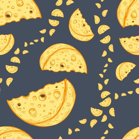 Vector image of yellow slices of cheese of different sizes on a dark gray background. Seamless pattern for textile, wallpaper and design Standard-Bild - 133359419