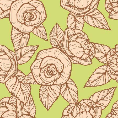 Vector image of beige openwork roses on a light green background Standard-Bild - 133359430