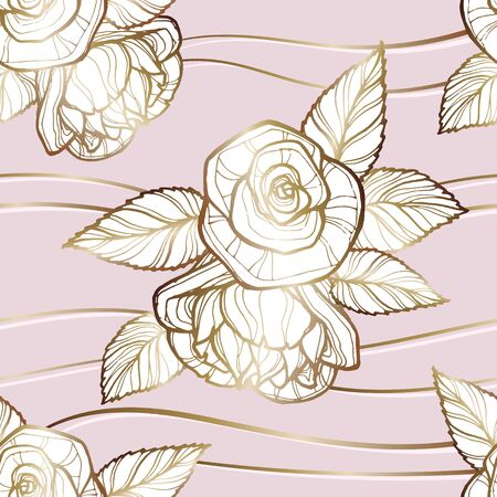 Vector image of beige-gold inflorescences of roses with leaves on a gently pink background in the interweaving of gold threads. Seamless pattern for textile, wrapping paper and wallpaper Standard-Bild - 133359424