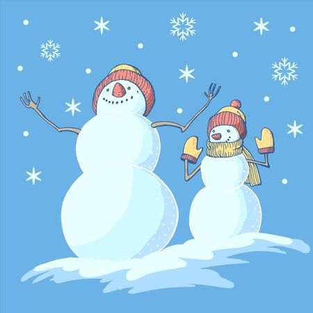 Vector image of two joyful snowmen under a snowfall in hats and mittens on a blue background Ilustracja