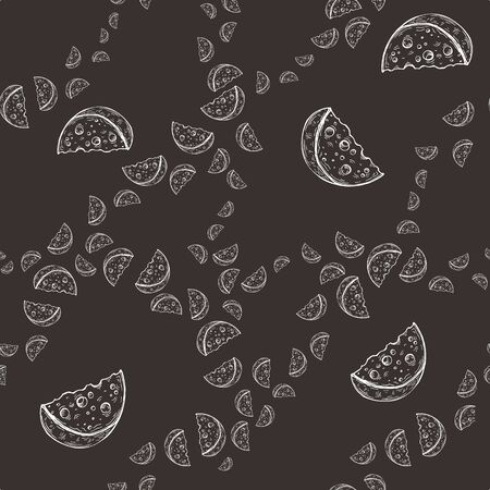 Vector image of hand drawn slices of cheese in different proportions on a dark background. Seamless background for wallpaper, textile and wrapping paper Standard-Bild - 133359431