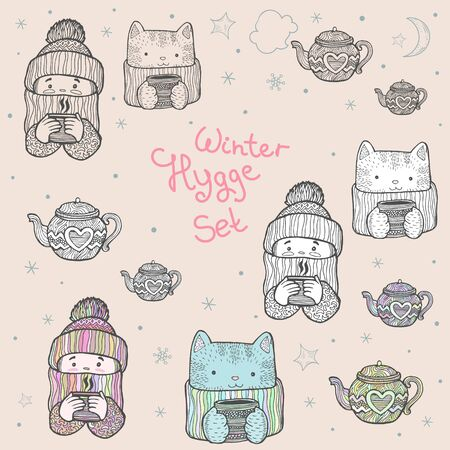 A set of cute winter characters and elements in the form of a line drawing, a picture with a white background and a painted picture. A girl and a cat in knitted hats, in scarves and with a cup of tea