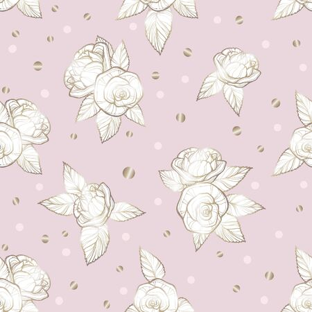 ector image of cream roses on a pale pink background surrounded by gold and pink sweets of candy. Seamless pattern for wallpaper, textile and design.