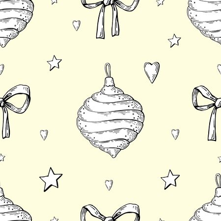 Vector image of Christmas toys, hearts and stars on a beige background