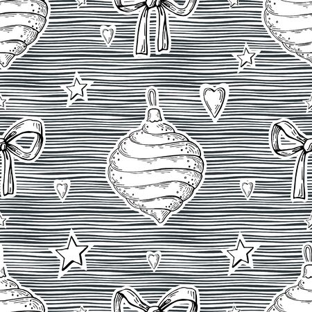 Black and white vector image of a carved Christmas toy, bows, hearts and asterisks on a striped background. Seamless background for wallpaper, textile and wrapping paper.