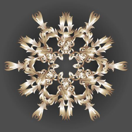 Vector image of a gold patterned snowflake on a dark gray background Stockfoto
