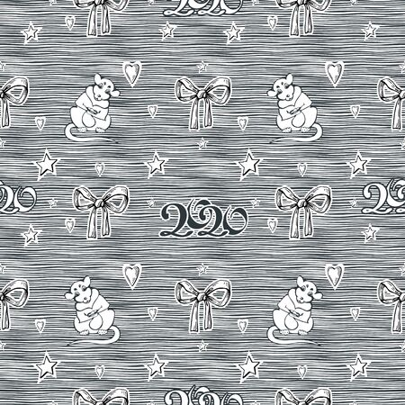 Vector image of a white mouse with a gift bag in its paws, stars with bows and hearts on a striped background. Seamless pattern for textile, wallpaper and wrapping paper.