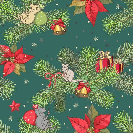 Vector image of happy mice on spruce legs among red stars, leaves and New Years gifts on a green background Stockfoto