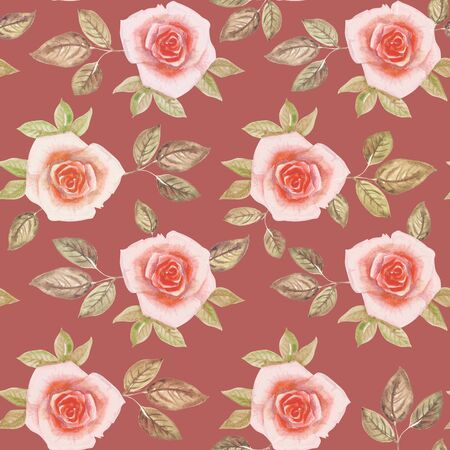 Watercolor image of pink rosebuds and their green leaves on a light burgundy background. Banco de Imagens