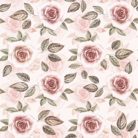 Watercolor pattern of many pink roses and their green leaves on a dusty pink background